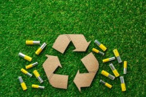 Recycling of used alkaline batteries ecological concept